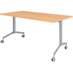 bümö Klapptisch OM-KF16, Konferenztisch fahrbar & klappbar Staffeltisch - Dekor: Buche braun