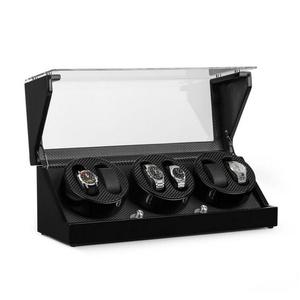 Klarstein Uhrenbeweger CA3PM Uhrenbeweger für 6 Uhren Karbon-Optik 48 cm x 19 cm x 18.5 cm
