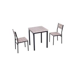 HOMCOM Sitzgruppe Esstisch-Set mit 1 Tisch + 2 Stühlen