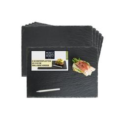 Moritz & Moritz Servierplatte Schieferplatte - Schieferset Thyme, Schiefer, 22 x 16 cm 6er Set