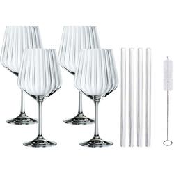 Nachtmann Weinglas Tasted Good, Kristallglas, (4x Gin&Tonic Glas, 4x Glashalm, 1x Reinigungsbürste), 640 ml weiß