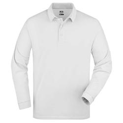 Herren langarm Poloshirt | James & Nicholson weiß XXL