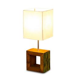 Levandeo® Nachttischlampe, Tischlampe 16 x 45 x 16 cm Treibholz Tischleuchte Holz Lampe Teakholz Deko