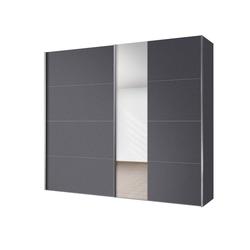 Express Solutions Schwebetürenschrank mit Spiegel grau 250 cm x 216 cm x 68 cm