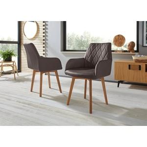 Premium collection by Home affaire Armlehnstuhl Brest (Set, 2 Stück), Bezug in Leder oder Microfaser, Gestell ist Eiche Massivholz geölt braun