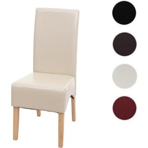 Esszimmerstuhl Latina, Küchenstuhl Stuhl, Leder ~ creme, helle Beine