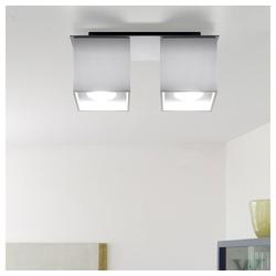 etc-shop LED Deckenspot, Deckenstrahler modern Designer Küchenlampen Strahler 2 flammig Aufbauleuchte weiß, Aluminium, 2x GU10, LxH 26 x 11 cm