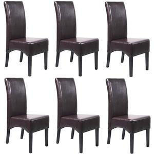 6x Esszimmerstuhl Küchenstuhl Stuhl Latina, LEDER ~ braun, dunkle Beine