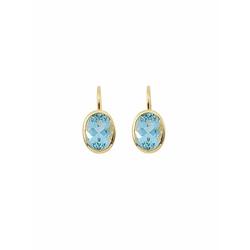 Adelia´s Paar Ohrhänger 585 Gold Boutons mit Aquamarin