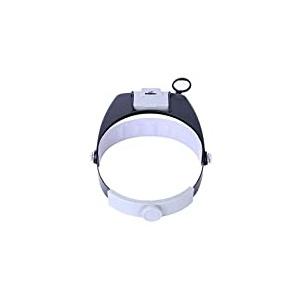 Hemobllo LED-Stirnband-Lupe Zur Reparatur von Kreuzstich-Lupen mit LED-Licht Multifunktions-Lupe Kopf-LED-Leuchte (Schwarz)