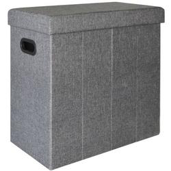Faltbarer Wäschekorb 70L Wäschetruhe mit Deckel Wäschebox Wäschesammler Leinen-Optik Grau