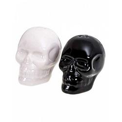 Horror-Shop Geschirr-Set Schwarz-Weiß Totenkopf Salz und Pfefferstreuer, Keramik