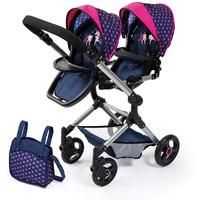 Bayer Design Zwillings-Puppenwagen Twin Neo, dunkelblau/pink
