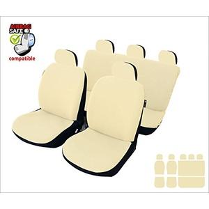 akhan AKH46776934 SB621 Sitzbezug Set, für Fahrzeuge mit oder ohne Seitenairbag, Schwarz, Beige