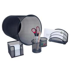 Office-Set m. Papierkorb Metall schwarz 5-teilig