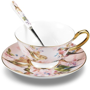 Panbado, Porzellan Kaffeeservice, 3-teilig Fine Bone China Porzellan Kaffee Set, mit 200 ml Kaffeetasse, Unterteller und Löffel