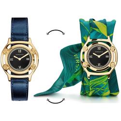 Versace Schweizer Uhr Medusa Frame, VEVF00820, (Set, 2-tlg., Uhr mit Lederband und Seidentuch)