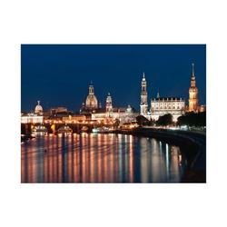 Bilderdepot24 Leinwandbild, Leinwandbild - Dresden Skyline bei Nacht - Deutschland 80 cm x 60 cm