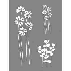 Rayher Dekor-Schablone Flower Mix grau