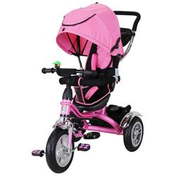 miweba Kinder-Buggy Kinderdreirad 7 in 1 Schieber Kinderwagen, 360° Drehbar - Luftreifen - Dreirad - Ab 1 Jahr rosa