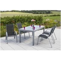 MERXX Amalfi Set 5-tlg. Tisch 220 x 90 cm inkl. Stapelsessel schwarz