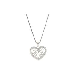 Smart Jewel Herzkette Herz-Anhänger mit Kristallsteine, Silber 925