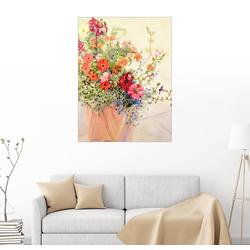 Posterlounge Wandbild, Petunien, Lobelien, fleisige Lieschen und Fuchsien im Terracottatopf 70 cm x 90 cm