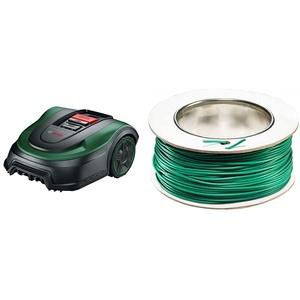 Bosch Rasenmäher Roboter Indego S+ 500 (mit 18V Akku und App-Funktion, Ladestation enthalten, Schnittbreite 19 cm, für Rasenflächen bis 500 m2, im Karton) & (für Bosch Indego Mähroboter, 100 m)