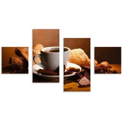 Artland Glasbild Kaffeetasse Zimtstange Nüsse Schokolade, Getränke (4 Stück) 120 cm x 70 cm