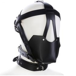 Sandritas Erotik-Maske Bondagemaske mit verstecktem Ballknebel Kopfmaske Bondage BDSM Kunstleder