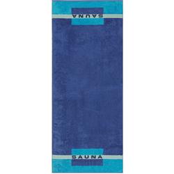 Cawö Saunatuch Sauna (1-St), mit Aufdruck blau