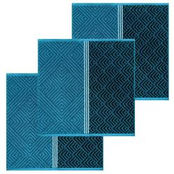 Lashuma Handtuch Set (Set, 3-tlg), Küchentücher Frottee, Geschirrtücher 50x50 cm blau