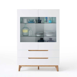 Esszimmer Highboard in Weiß Eiche massiv Glas