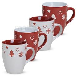 matches21 HOME & HOBBY Becher Kaffeebecher 4er Set Weihnachtsdekor 10 cm, Keramik
