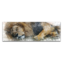 Bilderdepot24 Leinwandbild, Leinwandbild - Aquarell - Löwe II 120 cm x 40 cm