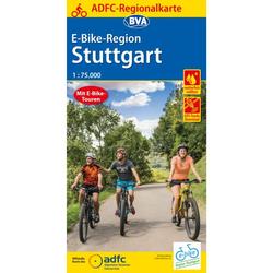 ADFC-REGIONALKARTE E-BIKE-REGION STUTTGART, 1:75.000 - Fahrradkarten