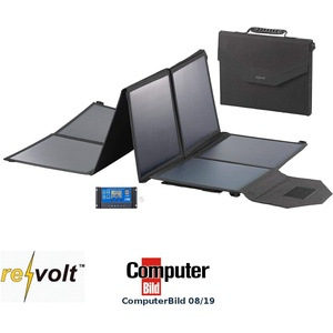 reVolt Solar faltbar: Faltbares Solarpanel, USB-Laderegler, 8 monokrist. Solarzellen, 100 W (Faltbares Solarmodul)
