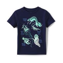 Grafik-Shirt, Größe: 128-134, Blau, Jersey, by Lands' End, Tiefsee Lebewesen - 128-134 - Tiefsee Lebewesen
