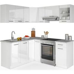 Vicco Küche Küchenzeile L-Form Küchenblock Einbauküche Komplettküche 167x187cm Weiß HGL