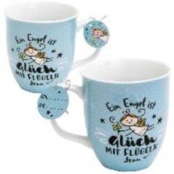 Happy Life 46145 Tasse mit Engelsmotiv Ein Engel ist Glück mit Flügeln Hellblau