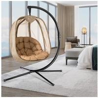 COSTWAY Hängesessel mit Gestell & Sitzkissen, Hängestuhlgestell mit Hängestuhl, Hängekorb Gestell aus Stahl bis 110kg belastbar, für Terrasse Balkon