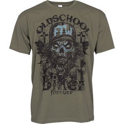 Oldschool Biker T-Shirt grün XXL