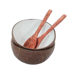 BOURGH Schale BONTANG Kokosnusschalen 2er Set + 2 Kokosnussöffel, Kokosnuss, (Set) beige