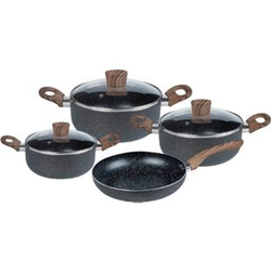 SSW Stone Wood Black Kochtopf-Set Aluminium Antihaftbeschichtung 7-teilig