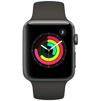 Apple Watch Series 3 (GPS + Cellular) 42mm Aluminiumgehäuse space grau mit Sportarmband schwarz