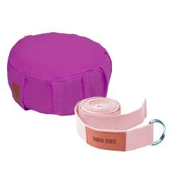 Yoga Set Lila/Pink inkl. Yogakissen und Yogagurt