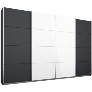 Schwebetürenschrank - grau metallic-weiß Hochglanz - 271 cm