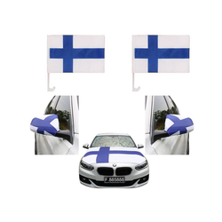 Sonia Originelli Fahne Auto Fan-Paket Haubenfahne Fensterfahnen Spiegelfahnen Magnetflaggen Finnland, Fanartikel für das Auto in Finnland-Farben Fanset-10XL