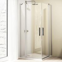 Hüppe Design elegance Schwingtür mit festen Segmenten Silber matt Klarglas mit Anti-Plaque - 800mm / 2000mm - 8E0704087322