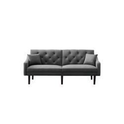 Fangqi Schlafsofa 2 Sitzer Sofa, Klappbares Schlafsofa 188cm mit 2 Kissen, Grau